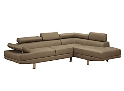 Poundex Bobkona Vegas Blended Linen 2-Piece Sectional Sofa with Functional Armrest and Back Support, Light Tan