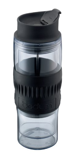 Bodum 16-Ounce Insulated Travel Coffee Press with Rubber Grip, Clear
