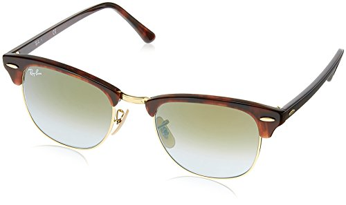 Ray-Ban CLUBMASTER - SHINY RED/HAVANA Frame GREEN FLASH GRADIENT Lenses 49mm - Ban Green Ray Lenses Flash