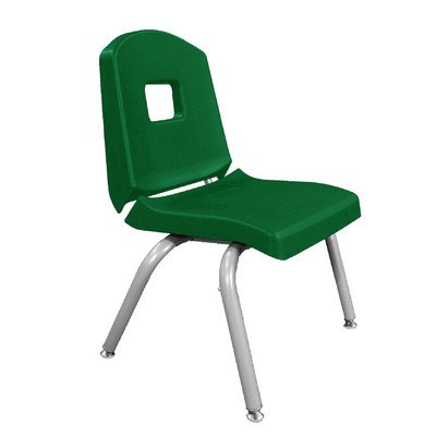 """UPC 663789261651, Creative Colors 10CHRN-FG-BM Split-Bucket Chair, Self-Leveling Glides, 10"""" Height, Forest Green Seat and Back, Brushed Metal Frame"""
