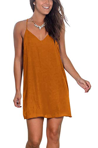 (OEUVRE Womens Sexy Spaghetti Strap V Neck Shift Dress Beach Summer Sleeveless Dresses)