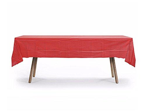 (10 Pack Rectangular Table Cover, Premium Plastic Tablecloth, Plastic Table Cover Reusable (Red))