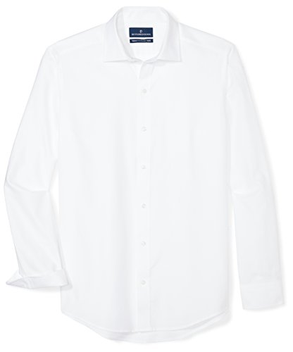 (BUTTONED DOWN Men's Tailored Fit Supima Cotton Spread-Collar Dress Casual Shirt, White, 16-16.5