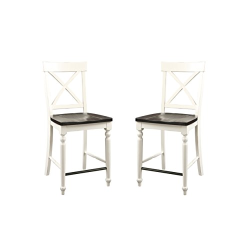 "Emerald Home Mountain Retreat Antique White and Dark Mocha 24"" Bar Stool with All Wood Frame, X Back, And Contrasting Seat, Set of Two"