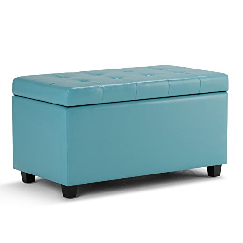 Simpli Home AY-S-38-BU Cosmopolitan 34 inch Wide Contemporary  Storage Ottoman in Soft Blue Faux Leather