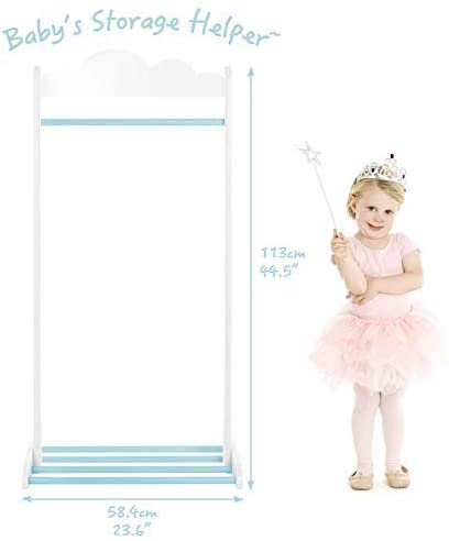 Kid Clothes Rack Shelf//Baby Boy Clothes Rack Kid//Storage Rack Clothes ✦【Unisex】 Labebe 2-in-1 Baby Clothes Rack Stand White Garment Rack Stand in Wood for Unisex of 2-5 Years