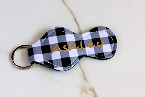 Personalized Keychain Gift for Women Black and White Plaid Buffalo Check Lip Balm Holder ()