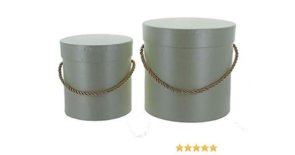 Vipolimex - Juego de 2 cajas redondas con cordel para flores, caja con tapa, caja de color liso, caja de regalo, personalizable: Amazon.es: Hogar
