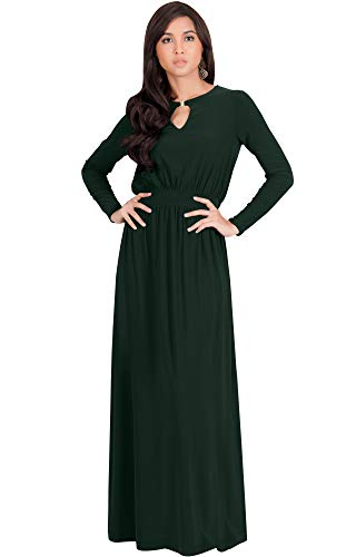 KOH KOH Petite Womens Long Sleeve Sleeves Modest Flowy Fall Winter Formal Empire Waist Evening Day Work Casual Abaya Muslim Wedding Gown Gowns Maxi Dress Dresses