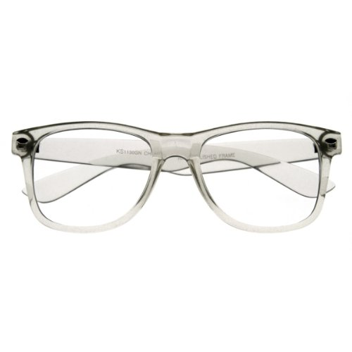 zeroUV - Clear Transparent Translucent Crystal Frame Clear Lens Horn Rimmed Glasses - Translucent Glasses