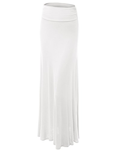 MBJ WB296 Womens Lightweight Floor Length Maxi Skirt XXXL WHITE