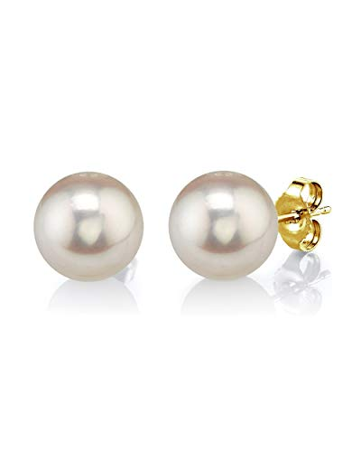 THE PEARL SOURCE 14K Gold 9-10mm Round White Freshwater Cultured Pearl Stud Earrings for Women 14k Gold Name Earrings