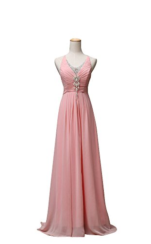 Vogue008 Womens Jewel Neck Floor-length Formal Dress with Ruching and (Pink Jewel Neck Rhinestone)