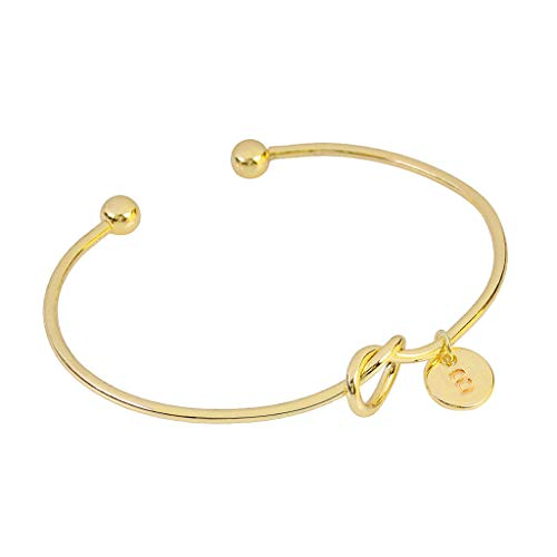 HYSGM Men Women Fashion Love Knot Shape Metal Bracelet with 26 Letters Unique Bracelet Gift Gold (B)
