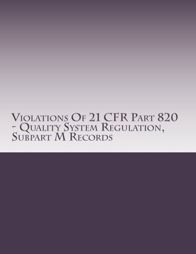 Violations Of 21 CFR Part 820 - Quality System Regulation, Subpart M Records: Warning Letters Issued by U.S. Food and Drug Administration (FDA Warning Letters Analysis) (Volume 15)