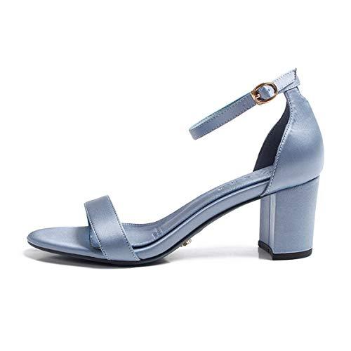 Sandales De 5cm Avec t Chaussures Blue Toes Talons Boucle forty Ceinture Kphy Hauts Et Rugueux En Sauvage La 0pq5PxHx