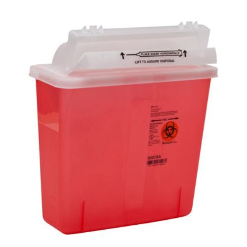 Covidien 8507SA SharpSafety Container with Counterbalance Lid, 5 quart Capacity, Transparent Red (1 Count) by Kendall/Covidien