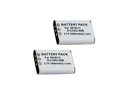 TWO 2 Batteries LI-60B LI60 for Olympus FE-370, Olympus X-880, Olympus C-575 Digital Camera