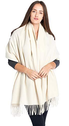 Mariyaab 100% Lambswool wool Women Solid Oversized Large Pashmina Scarf Stole Shawl (915477,White) (White Scarf Wool)