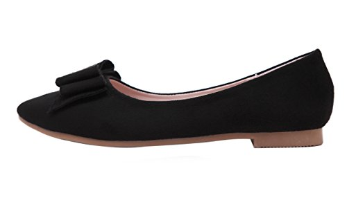 Punta Plano Lazo negro Zapatos Toe de Mujer dqq aFq6E