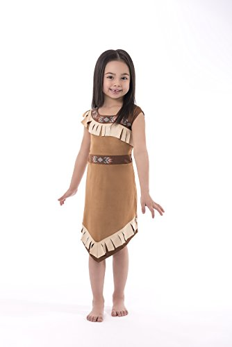 Little Adventures Native American Princess Dress up Costume for Girls - Medium (3-5 (Toddler Indian Costumes)