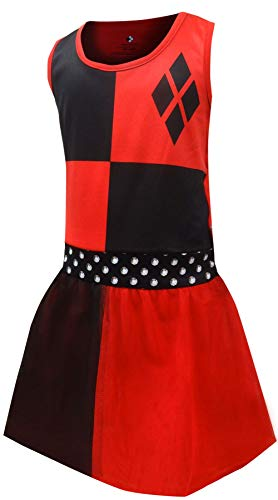 DC Comics Girls' Big Harley Quinn 'Costume' Pajama Nightgown, red, 6/6X ()