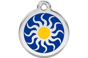 Custom Engraved Stainless Steel with Enamel Pet ID Tag - Small Dog - Tribal Sun