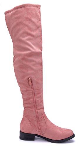 Rosa Blockabsatz Overknee Boots Schuhtempel24 3 Schuhe Nieten Stiefel cm Damen Stiefeletten nCwCAqvY