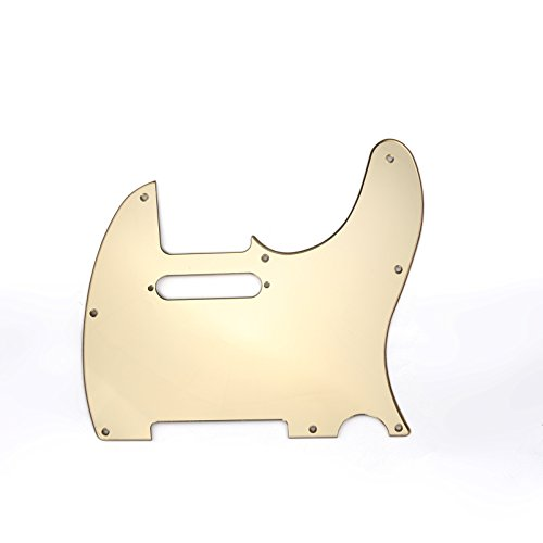 Musiclily 8 Hole Tele Pickguard Scratch Plate for USA/Mexican Made Fender Standard Telecaster Modern Style Electric Guitar,1Ply Gold Mirror Acrylic