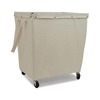 Homz Heavy Duty Canvas Laundry Hamper Casters Khaki Liner Large Capacity