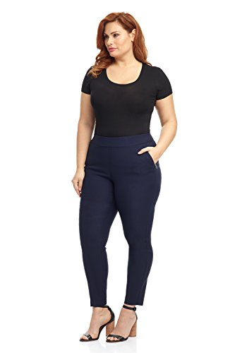 Rekucci Curvy Woman Ease in to Comfort Skinny Plus Size Pant w/Tummy Control (20WSHORT,Navy)