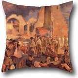 Pillowcover Of Oil Painting Tonks, Henry - An Advanced Dressing Station In France, 1918,for Bar,car,lover,husband,teens Girls,dinning Room 16 X 16 Inches / 40 By 40 Cm(two Sides)