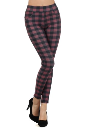 fashion MIC Women's Mini Checkered Slim Fit Pants (Large, Red - Large Checkers)
