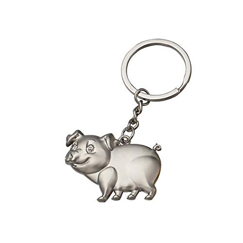 Maikouhai 1 Pcs Key Ring, Creative Portable Zodiac Piglet Key Ring Gift Pendant Metal Key Ring Gold Pig Silver Pig (Silver)