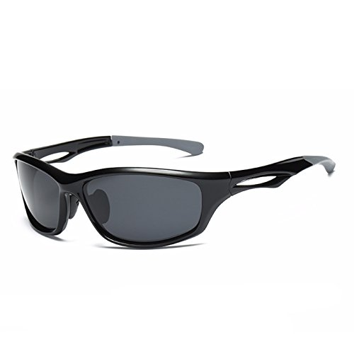 Laura Fairy Polarized Sports Sunglasses TR90 Silver Unisex Running Cycling Fishing (black) (Black Polarized Unisex Sunglasses)