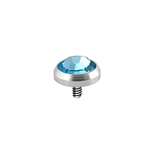 Light Blue 5MM Round Crystal Stone 316L Surgical Steel Top Micro Dermal Anchor (316l Surgical Steel Top)