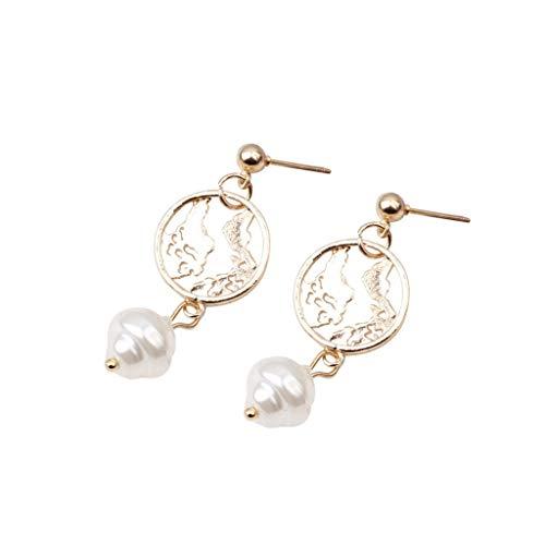 (CCFAMILY Ladies Creative Earrings Network Red Metal Irregular Shaped Beads Geometric Hypoallergenic Earring Girls Women Jewelry Gift)