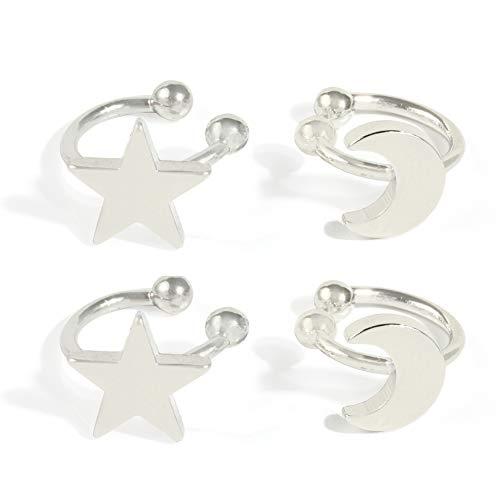 Gold Earrings Cuff for Women - CZ Earrings for Girls, Ear Cuff Gifts for Friend,Sister, Daily wearing... (silver moon)