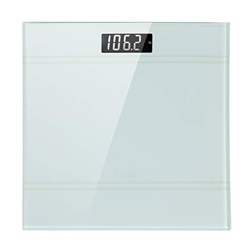 RIVIO Bathroom Weight Scale Digital Scale High Precision Scales for Body Weight with Step on Technology and Large LCD Backlit Display, 6mm Tempered Glass, 440 pounds, White