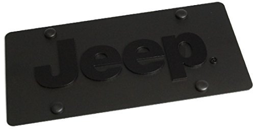 Jeep Chrome License Plate - Jeep License Plate on Black Carbon Steel