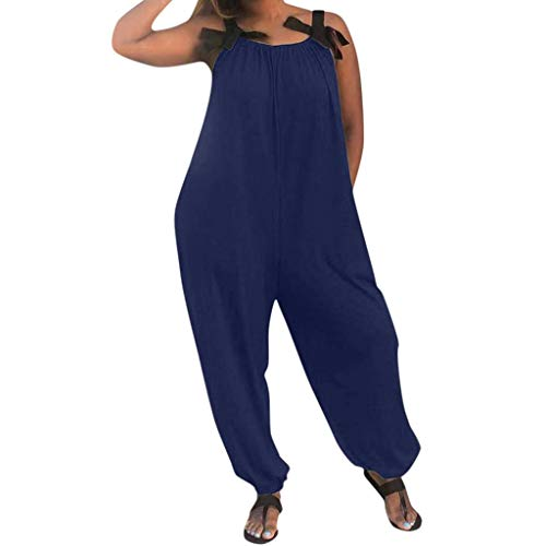WUAI 2019 Plus Size Rompers for Women Casual Spaghetti Strap Sleeveless Bibs Overall Loose Baggy Long Jumpsuits(Blue,Small)