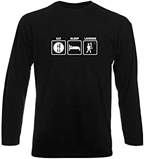 T-Shirt Manica Lunga Uomo Nera FUN1320 Eat Sleep Lacrosse