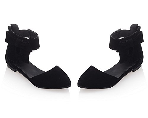 Closed Low Sandals CCALP014199 Heels Women's Toe Zipper Solid Black Frosted VogueZone009 wpZq5UxYx