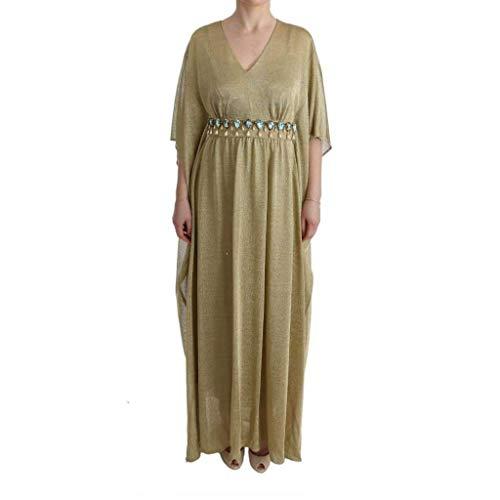 Dolce & Gabbana Gold Shift Long Blue Crystal Dress