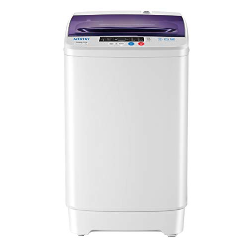MIKIKI Portable Full-Automatic Washing Machine, 1.6 Cu.ft Laundry Washer Spin Washer, Fast Wash, Rinse, Spin and Drain