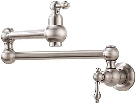 Pot Filler Wall Mount Brushed Nickel-Bokaiya Solid Brass Brushed Nickel Kitchen Faucet 2 Handles with Single Hole Double Joint Swing Arm Kitchen Faucets for Kitchen Restaurant