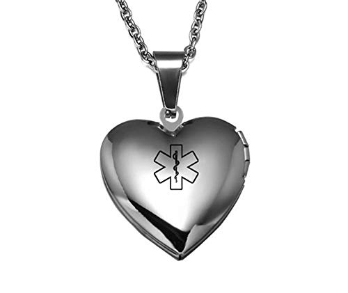(LiFashion LF Stainless Steel Personalized Name ICE Message Custom Openable Photo Parper Medical Alert Necklace Medical ID Heart Locket Pendant Emergency for Men Women Kids,Free Engraving Customized)