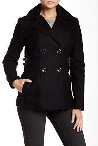 Leather Trimmed Wool - Kenneth Cole Reaction Faux-Leather-Trimmed Wool-Blend Peacoat, Black - 12