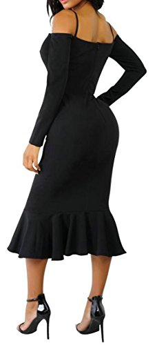 Bodycon Shoulder Solid Womens Sleeve Dress Long Black Off Cromoncent Ruffle 1PFwxqg