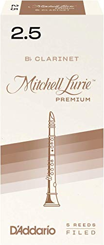 D'Addario Woodwinds Mitchell Lurie Premium Bb Clarinet Reeds, Strength 2.5, 5-pack - RMLP5BCL250 Premium